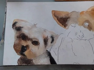 Como pintar perros en Acrílico, Leo y Noa