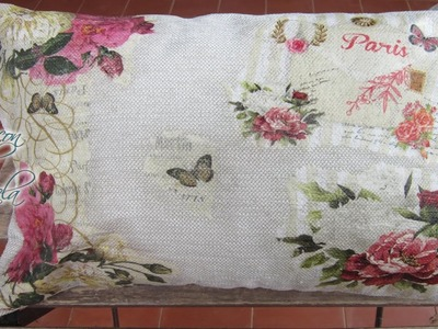 Decoupage en tela - Como hacer decoupage sobre un cojín con servilletas decoradas