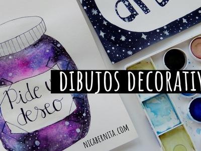 DIBUJOS PARA PORTADAS DE CUADERNO   DIBUJOS DE GALAXIA para decorar tu cuarto, una libreta y más