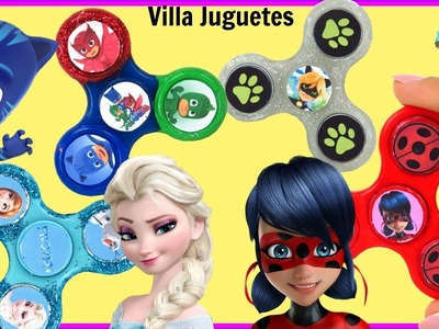 DIY    Decorando Fidget Spinners con Personajes de Lady Bug Cat Noir Frozen y PJ Mask