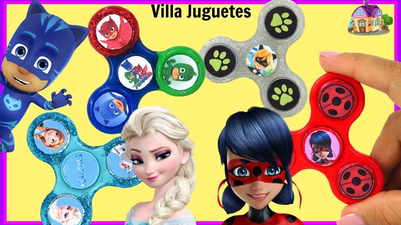 DIY    Decorando Fidget Spinners con Personajes de Lady Bug Cat Noir Frozen y PJ Mask