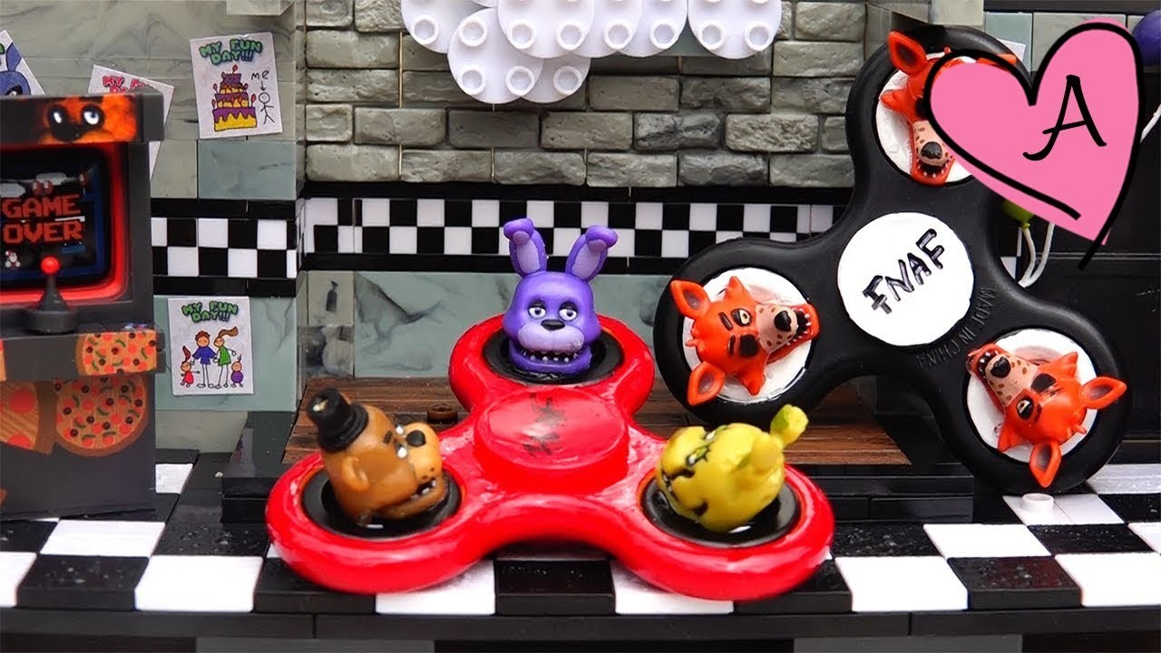 DIY fidget spinners pintados de FNAF en 3D | Muñecas y juguetes con Andre para niñas y niños
