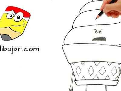 Emoji: La película - Cómo dibujar a Helado (IceCream). Dibujos paso a paso #emojilapeli #emojimovie