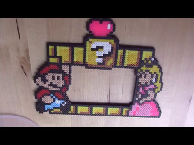 Mario Bros y Peach, marco de fotos hama beads HD