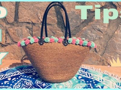 ☀️ Personalizar tu Capazo de playa con pompones| Hecho a mano | #Conguicreativediy
