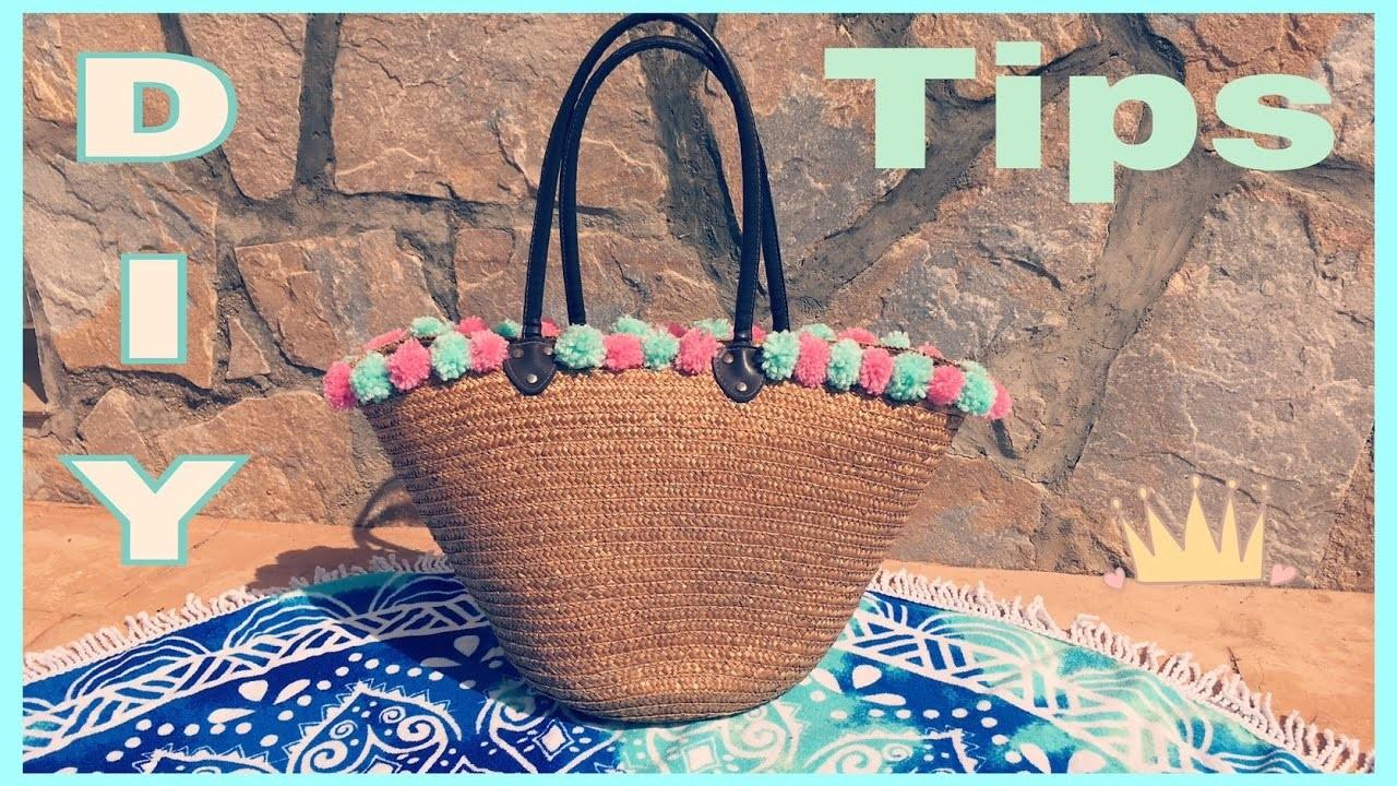 ☀️ Personalizar tu Capazo de playa con pompones  Hecho a mano   #Conguicreativediy