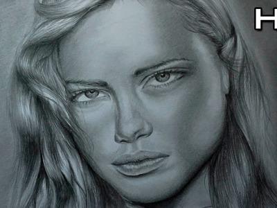 Retrato Realista a Lápiz - Dibujo de un Rostro de Mujer - Adriana Lima ????