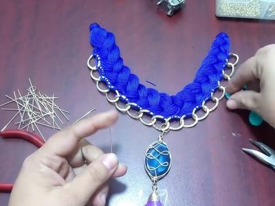 Collar trenzado con hilo y cadena