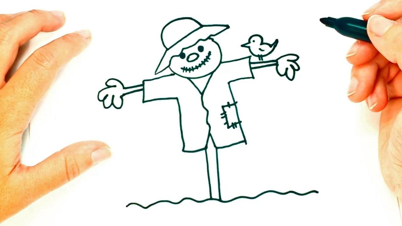 Cómo dibujar un Espantapájaros paso a paso   Dibujo fácil de Espantapájaros