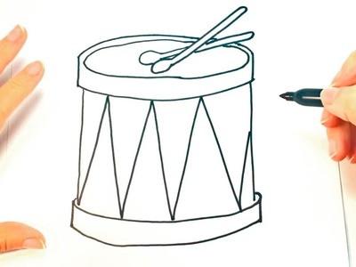 Cómo dibujar un Tambor para niños   Dibujo de Tambor paso a paso