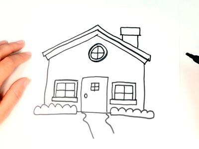 Cómo dibujar una Casita para niños | Dibujo de Casita paso a paso