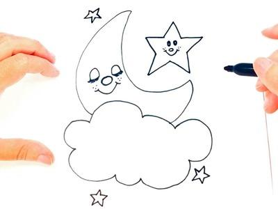 Cómo dibujar una Luna para niños | Dibujo de La Luna paso a paso