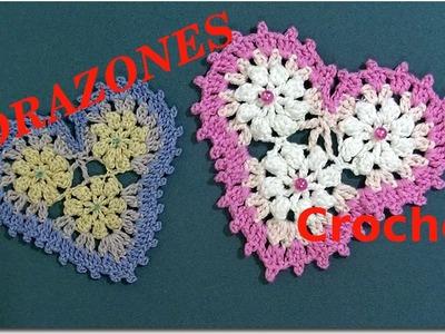 Delicado y fino CORAZON en tejido crochet o ganchillo tutorial paso a paso. Moda a Crochet