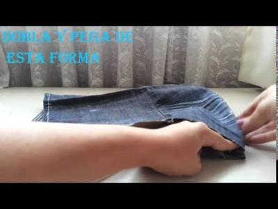 Recicla tu pantalon. Haz una bolsa de mezclilla FACIL