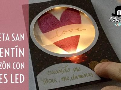 Tarjeta San Valentín con luz led y pulsador : corazón luminoso - sin chibitronics