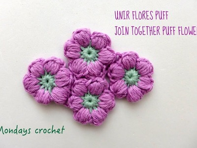 Unir flores puff. Join together puff flowers