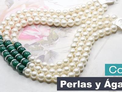 Aprende Cómo Hacer un Collar con Perlas y Ágatas - Variedades y Fantasías Carol
