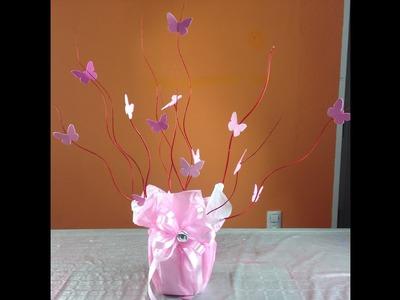 Centro de mesa con mariposas para XV años Centerpiece with buterflies for party fifteen years
