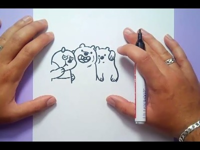 Como dibujar a Panda, Pardo y Polar paso a paso - Somos Osos | How to draw Panda, Grizzly and Ice Be