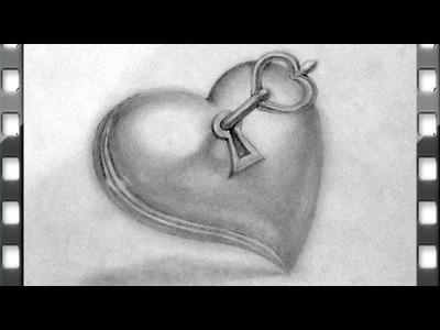 Como dibujar un corazon con una llave | como dibujar un corazon