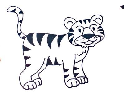 Cómo dibujar un Tigre paso a paso   Dibujo fácil de Tigre