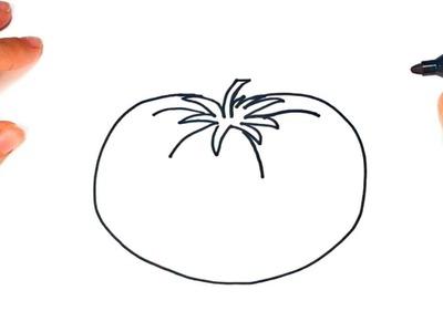 Cómo dibujar un Tomate paso a paso   Dibujo fácil de Tomate
