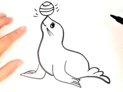 Cómo Dibujar Una Foca Paso A Paso Dibujo Fácil De Foca Cómo