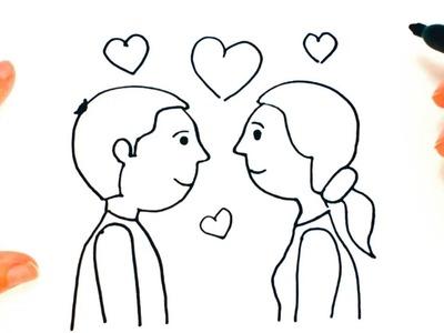 Cómo dibujar una Pareja de Enamorados paso a paso | Dibujo fácil de Pareja de Enamorados