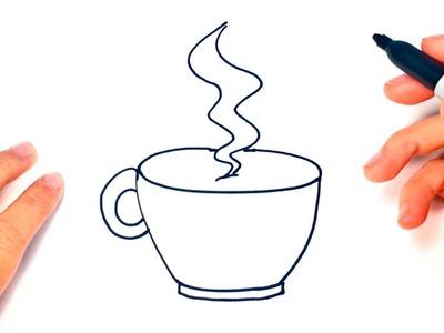 Cómo dibujar una Taza de Café paso a paso | Dibujo fácil de Taza de Café