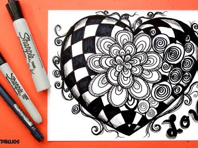 Corazon San Valentin│Valentines heart │Mandala│Tarjeta san Valentin