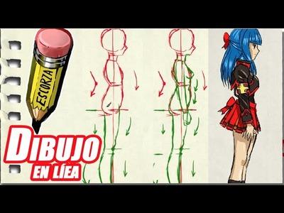 Dibuja a una figura tipo manga de perfil explicado
