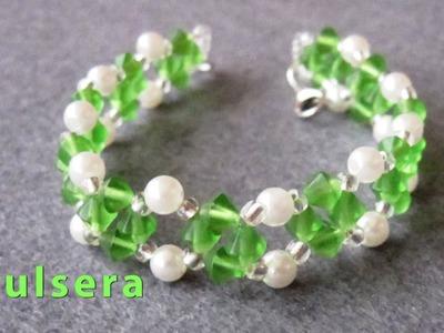 # DIY - Pulsera facil, de perlas, facetadas y cristalitos # - Easy bracelet