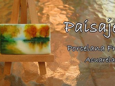 Paisaje en Porcelana Fria y Acuarela