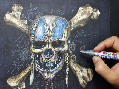 Pirates of the Caribbean - Drawing pirate skeleton - Dibujando esqueleto Piratas del Caribe