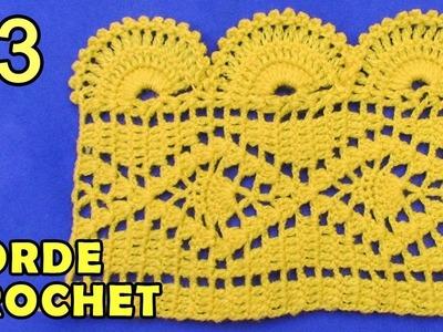 Borde #3 tejido a crochet, fácil de hacer en punto pavo real con arañitas pequeñas