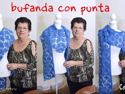 Bufanda con punta en forma de L tejida a crochet. Tejiendo Perú