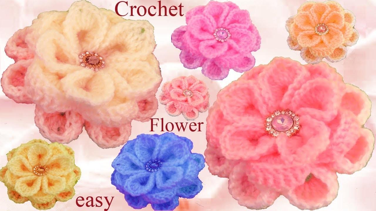 Como Hacer Flores Tejidas Facil Con Ganchillo Crochet How To Roses