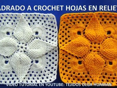 Cuadrado a crochet hojas en relieves paso a paso para 671062ef763
