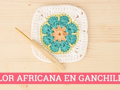 Cuadrado de ganchillo: Flor africana