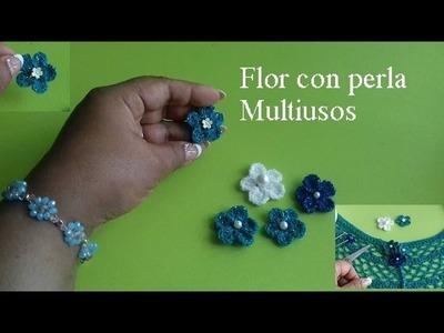 Florecita con perla multiusos  para  capita abierta