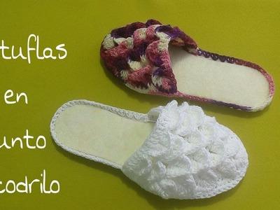 Pantuflas en punto cocodrilo (para el dia de las madres) 2 de 2