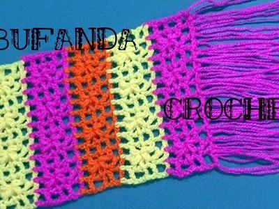 BUFANDA en tejido #crochet o ganchillo para nenas tutorial paso a paso. Moda a Crochet