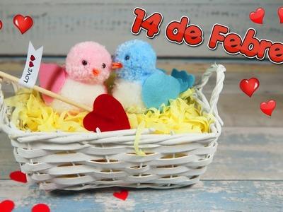 Como hacer pajaritos con pompones de lana - Idea fácil regalo 14 de febrero San valentín