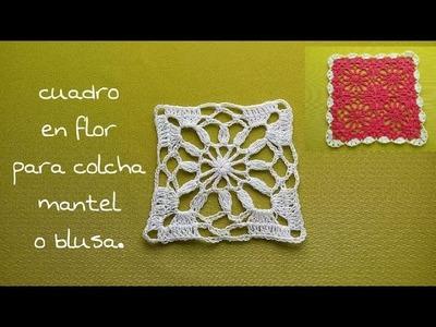 Cuadro en flor para colchas,mantel y blusas