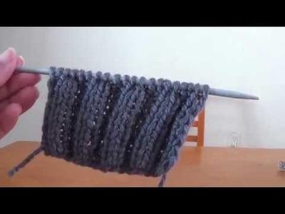 Muestra para tejer resorte o elástico doble a 2 agujas