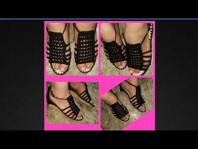 Sandalias tejidas a crochet  Muy fácil y rápido