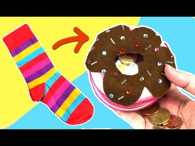 Manualidades con reciclaje: Monedero donut con calcetin