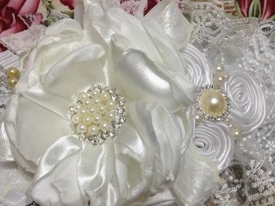 Tiara de bautizo  blanco.perla paso a paso VIDEO No.428
