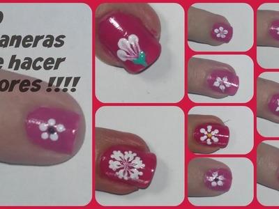 10 formas de hacer flores en las uñas !!!!