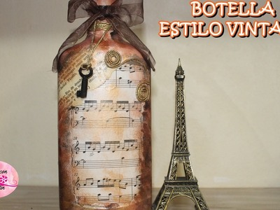 BOTELLA DE VIDRIO  ESTILO VINTAGE 2 COLABORATIVO CON DIY ANNA